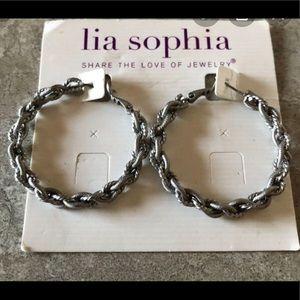 Lia Sophia Tightrope silver loop earrings